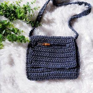 3/$20 Crossbody bag knit woven navy blue purse